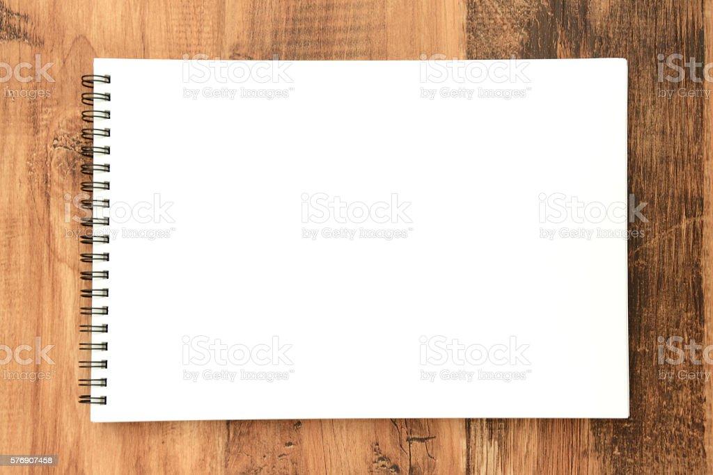 Open sketchbook stock photo