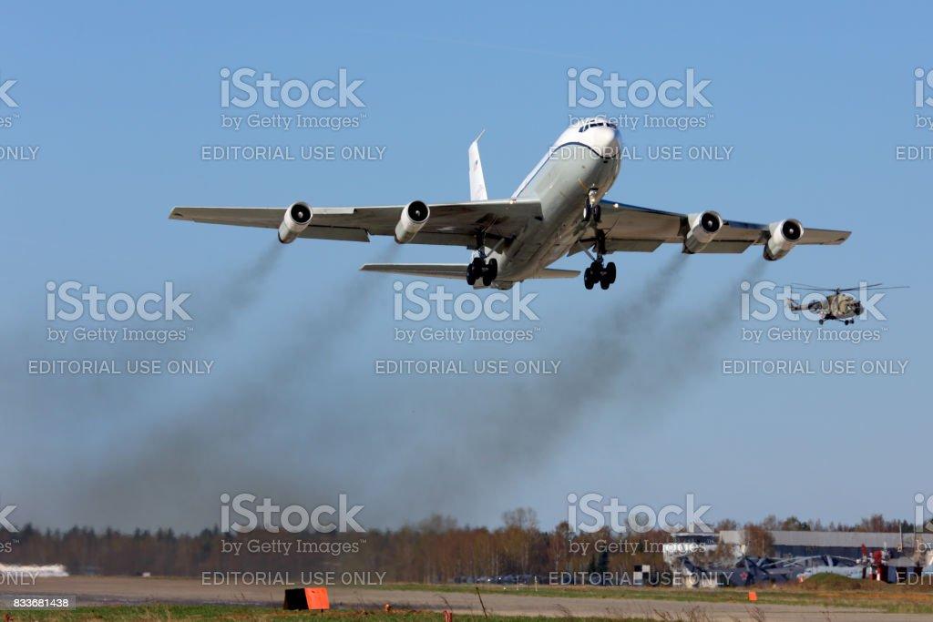 Open Skies Boeing OC-135B 61-2672 taking off at Kubinka air force base. stock photo