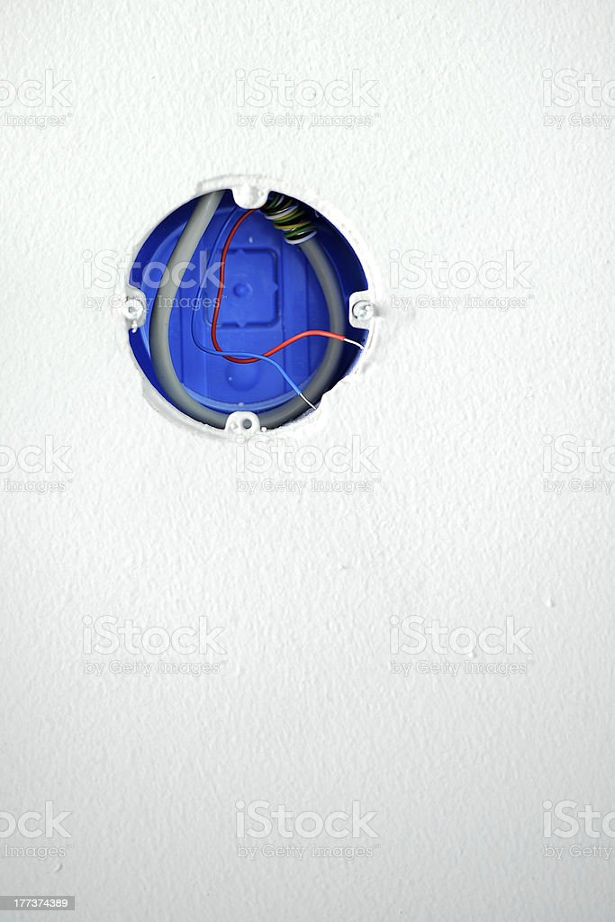 Open socket with network wiring stock photo