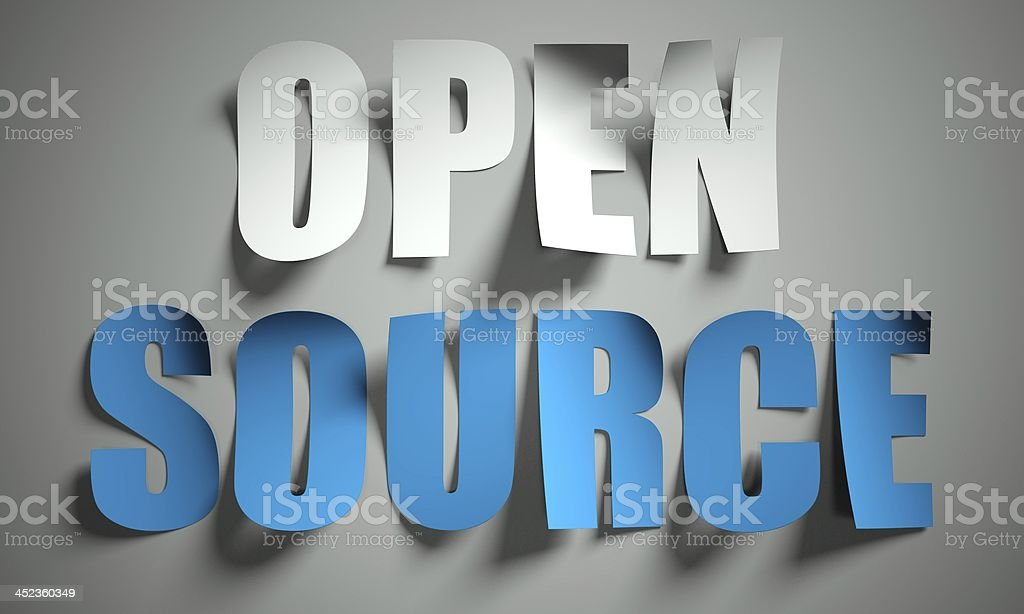 Open source cut from paper on background royalty-free stock photo