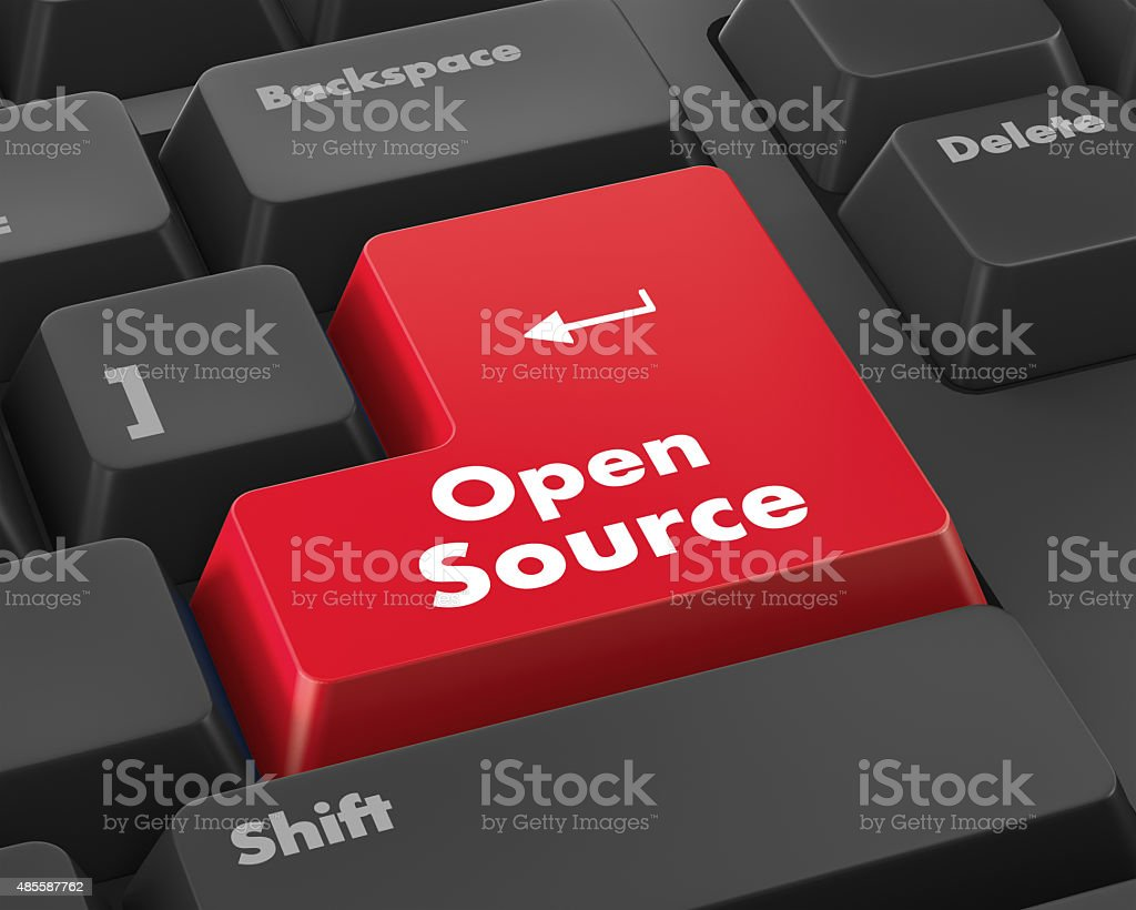open source keyboard button stock photo