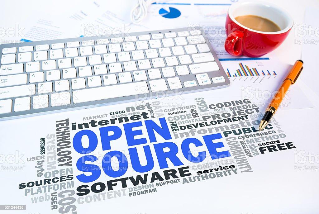 open source word cloud on office scene stock photo