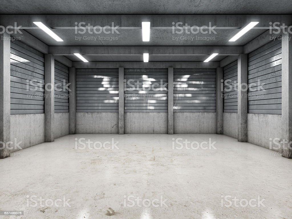 Open space empty garage stock photo