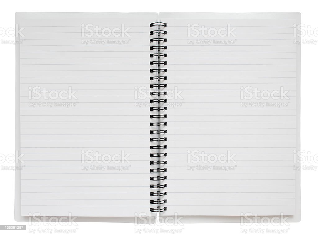 Open Spiral Bound Notebook with Clipping Path stock photo