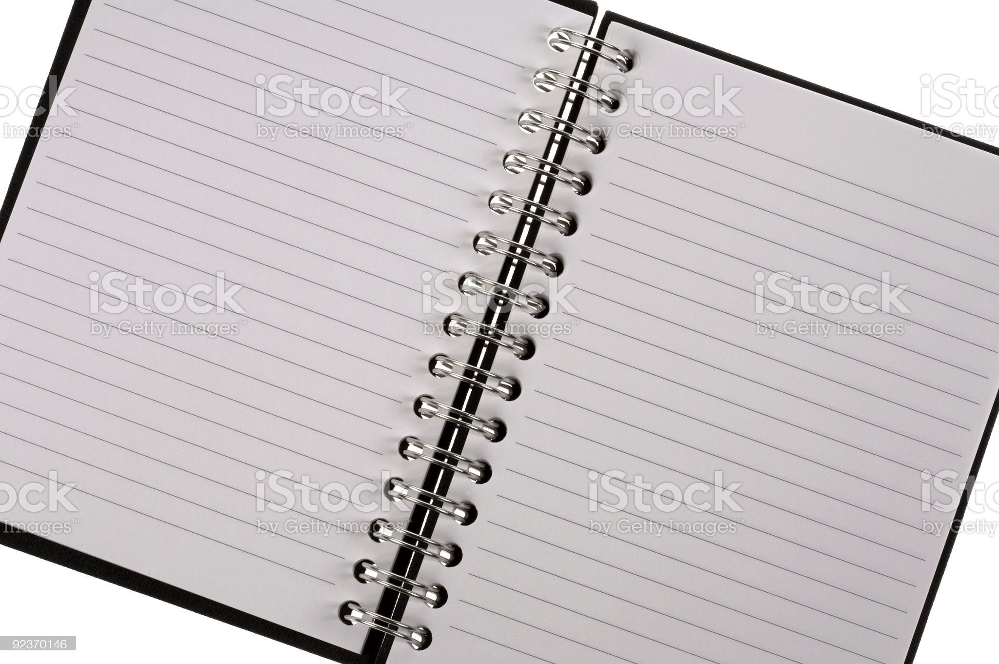 Open spiral bound notepad royalty-free stock photo