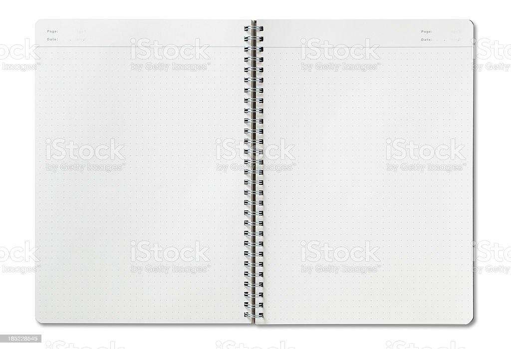 Open spiral notebook stock photo
