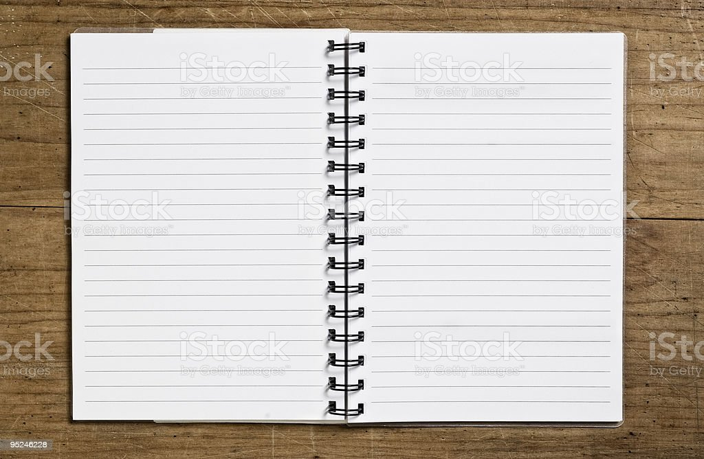 Open spiral notebook. stock photo