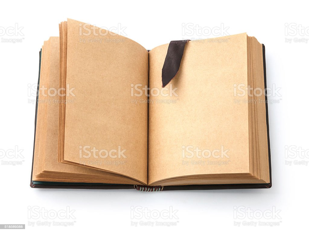 Open spread old book with blank page stock photo