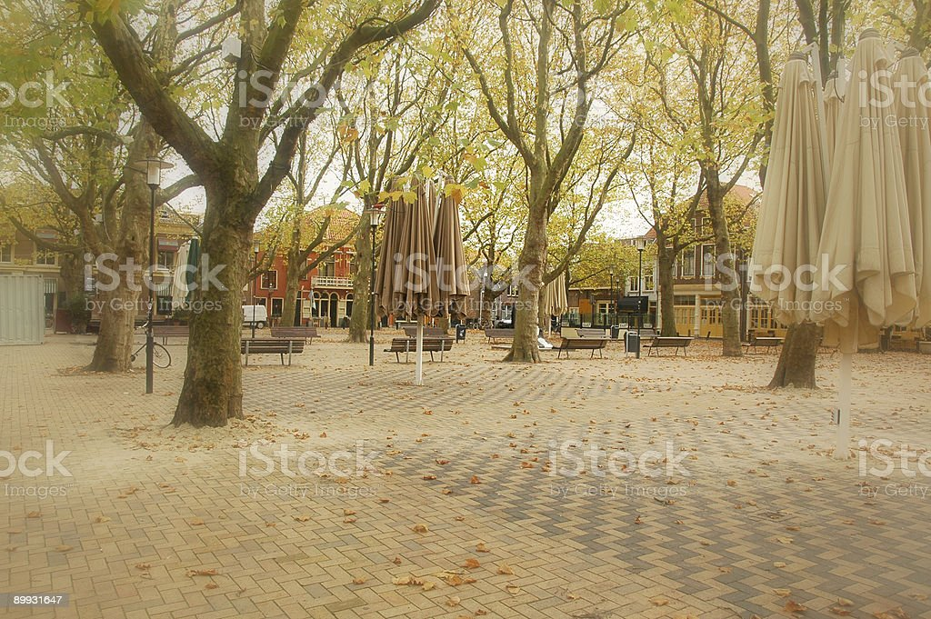 Open square with Cafes (Delft) royalty-free stock photo