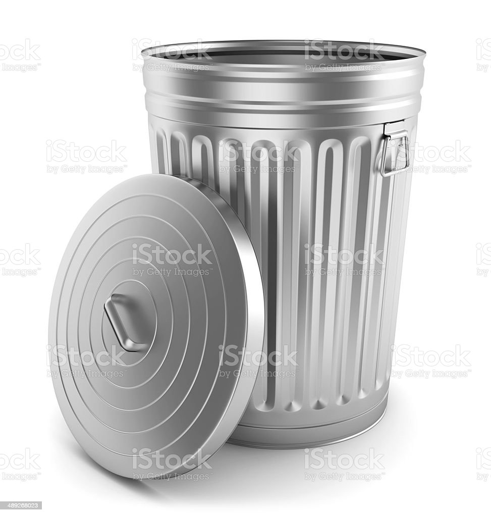 Open steel trash can stock photo