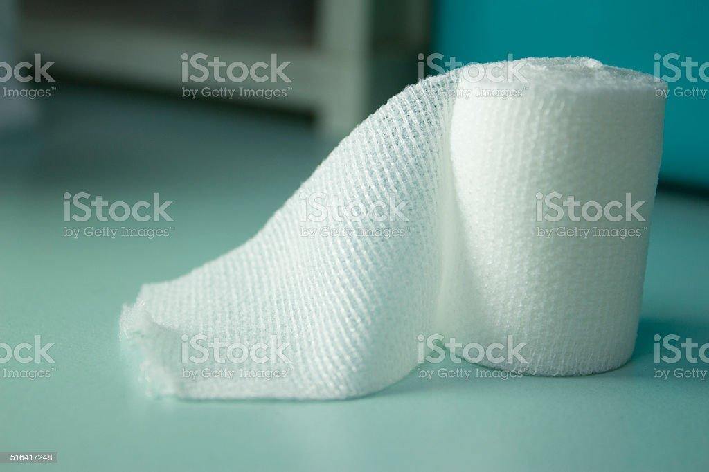 Open sterile gauze roll stock photo