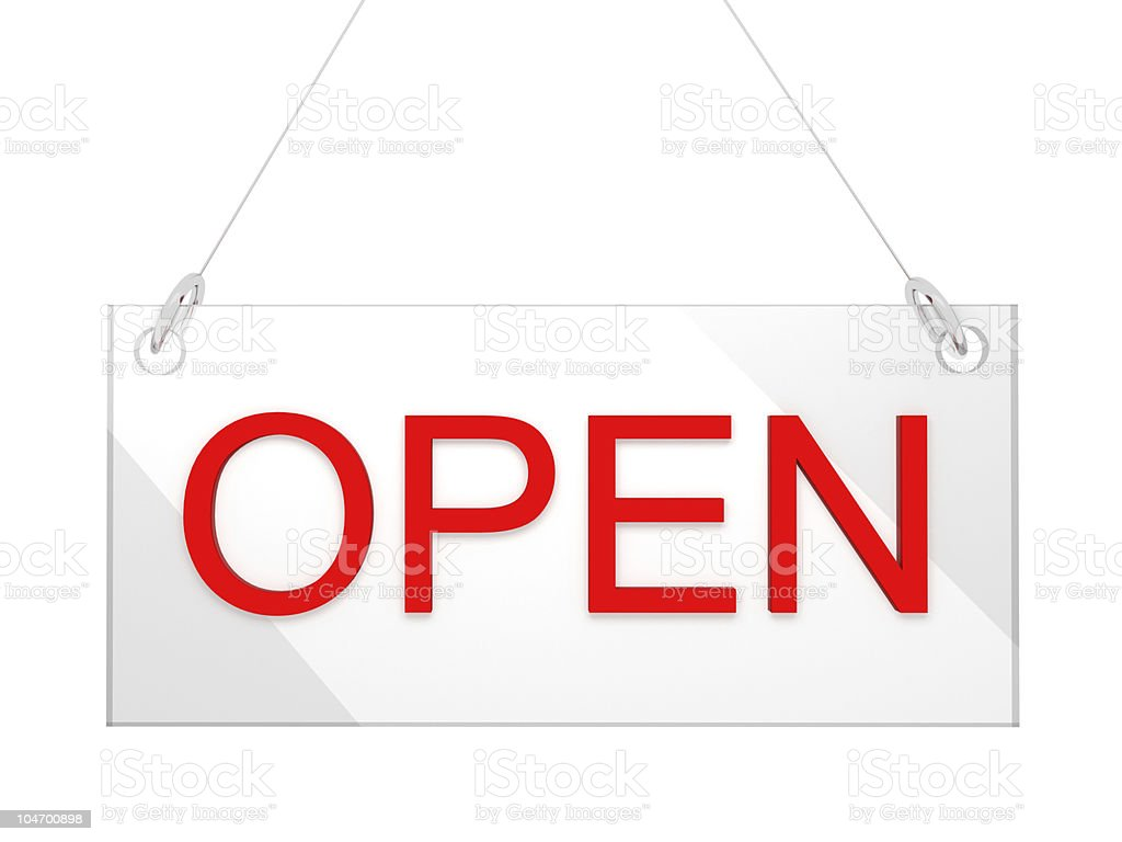 3D Open Store Glass Sign - Front View stock photo