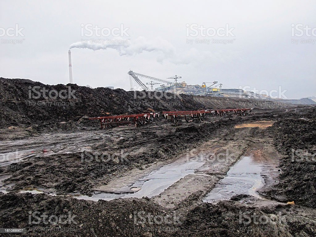 Open Strip Coal mine and coal-fired power station stock photo
