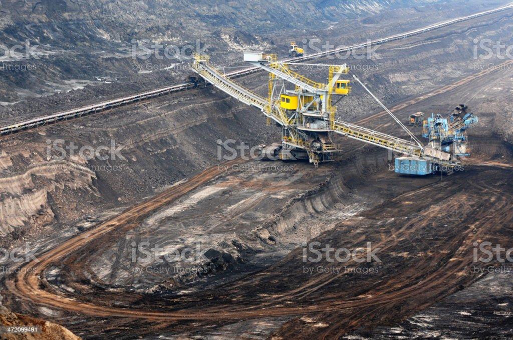 Open Strip Coal mine with Bucket-wheel excavator at conveyor belt stock photo