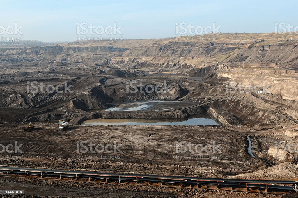 Open Strip Coal mine with conveyor belt stock photo