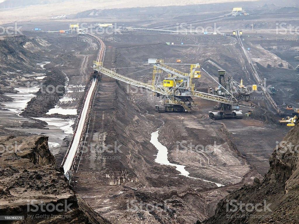 open Strip Coal mine with large excavators at conveyor belt stock photo