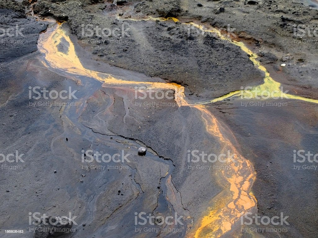 open Strip Coal mine with slurry consists of liquid waste stock photo