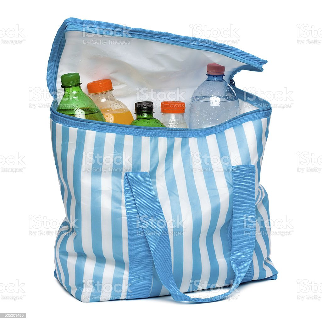Open striped cooler bag with full of cool refreshing drinks stock photo