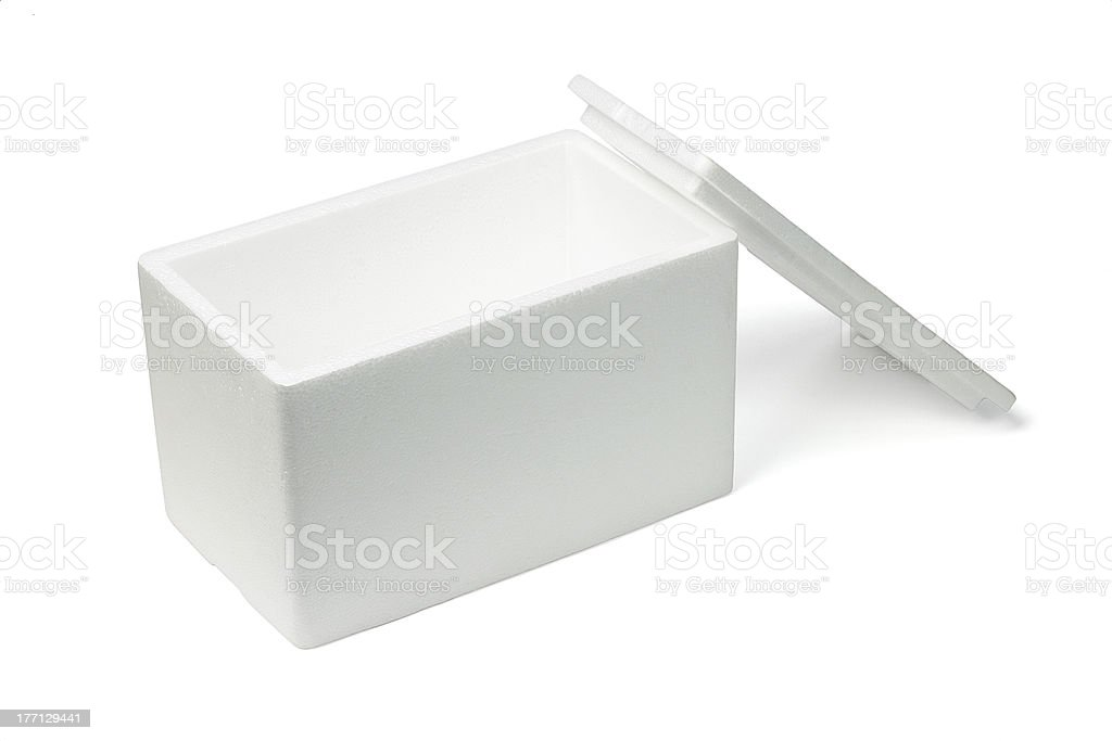 Open Styrofoam storage box stock photo