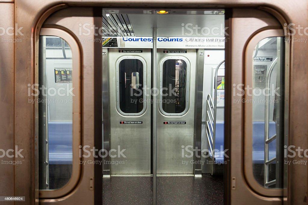 Open subway doors stock photo