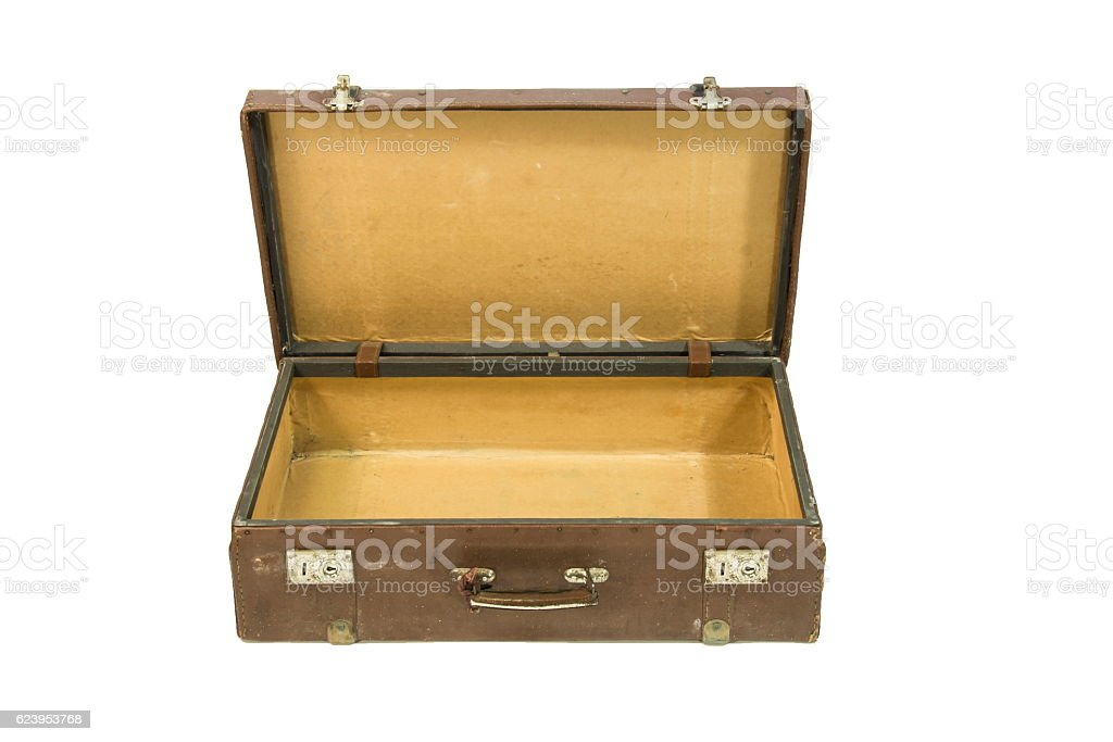 Open suitcase, white background. stock photo