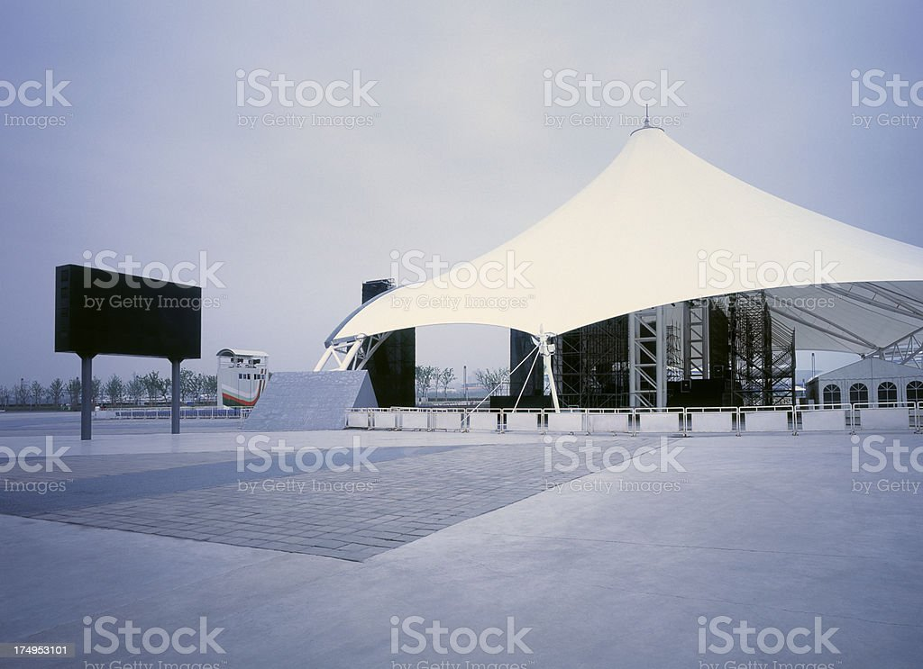 Open tent structure with large outdoor stage in Shanghai royalty-free stock photo
