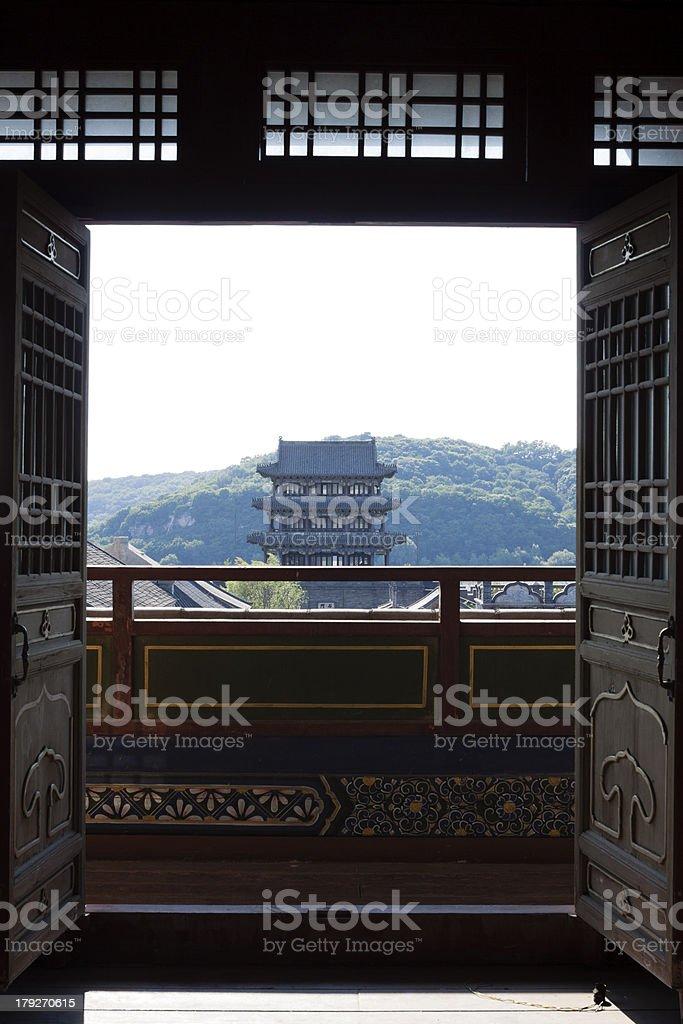 Open the door to see scenery stock photo