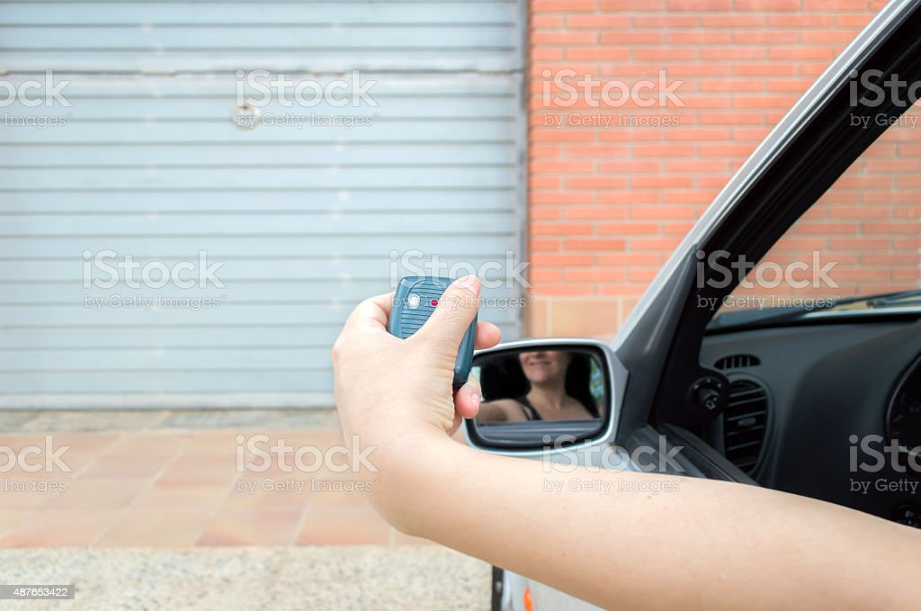 open the door with remote control stock photo