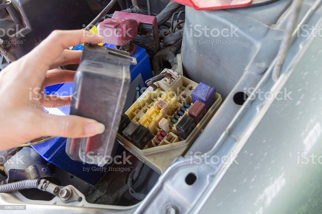 open the fuse car box stock photo