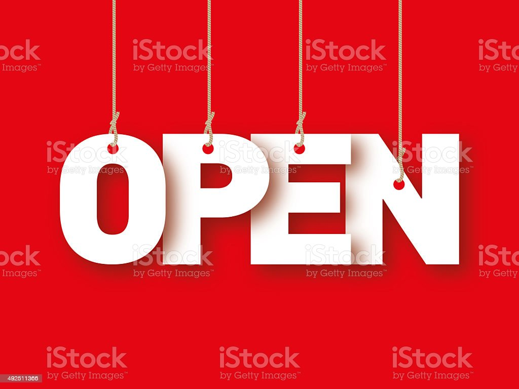Open, the word of the letters hanging on the ropes stock photo