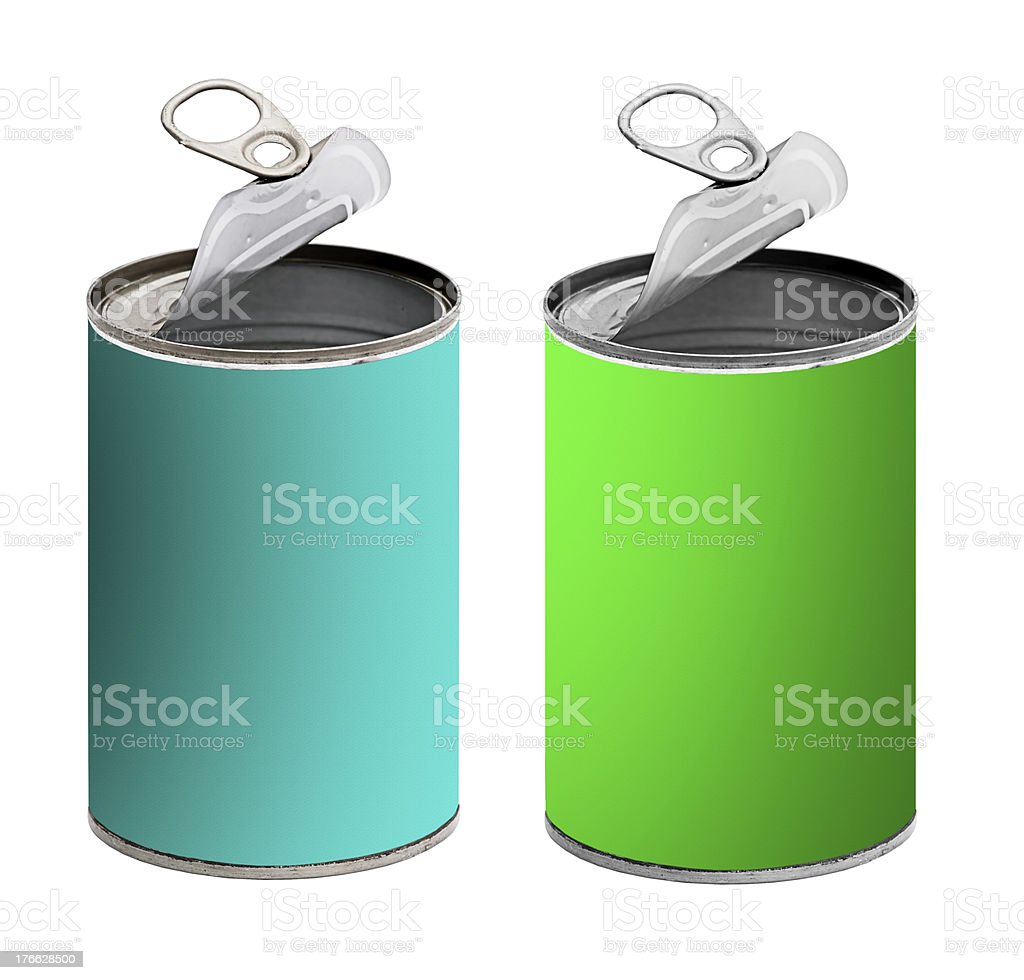 Open tin cans,green and turquoise - isolated over white royalty-free stock photo