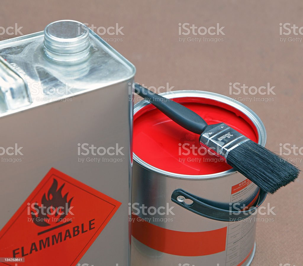 open tin of paint and cleaning solvent stock photo