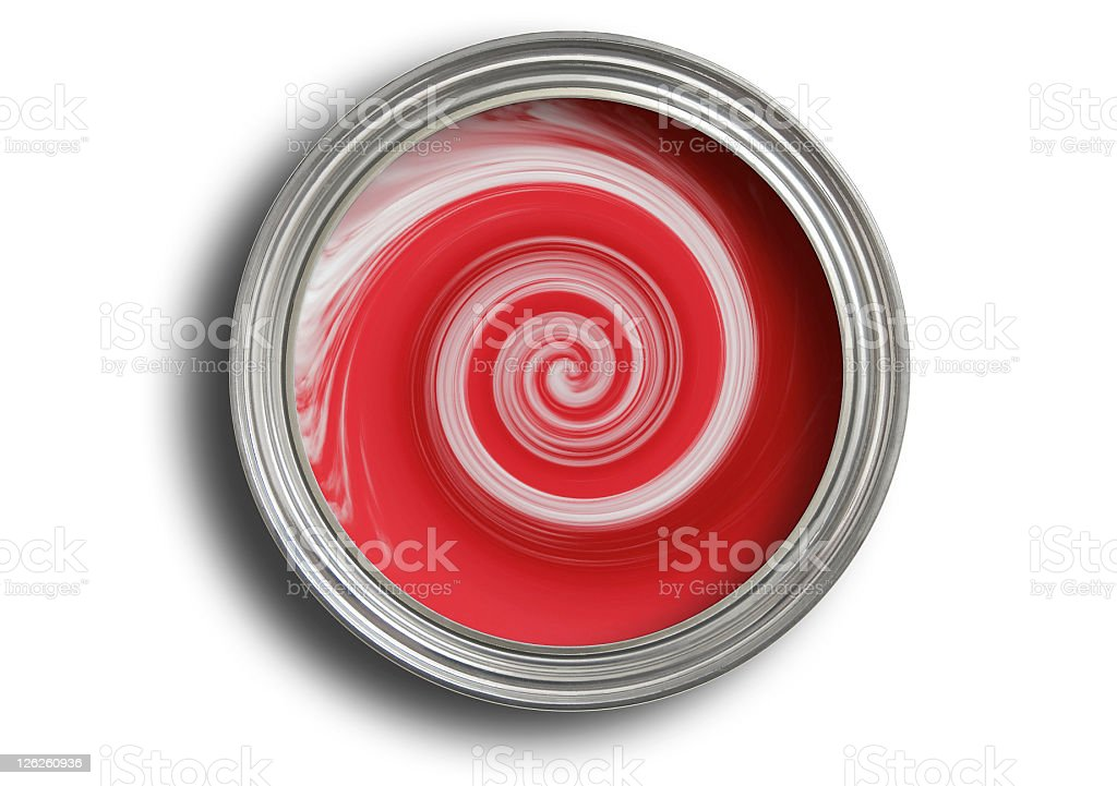 Open tin of red paint being mixed on white royalty-free stock photo