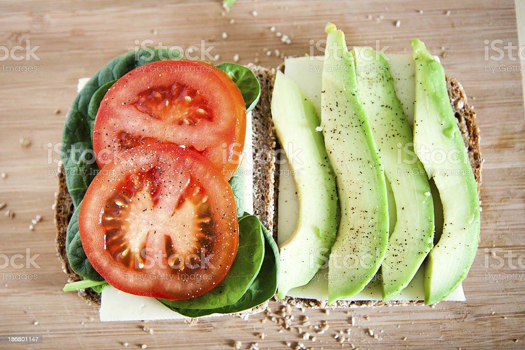 Open Tomato Avocado Sandwich royalty-free stock photo