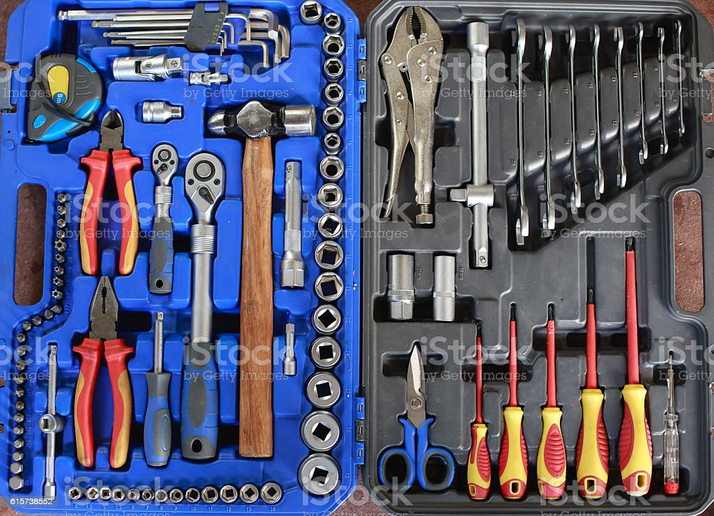 Open toolbox with different instruments. Set tools in a box stock photo