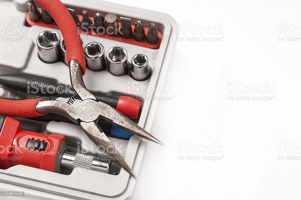 open toolbox with screwdriver, heads and bit royalty-free stock photo