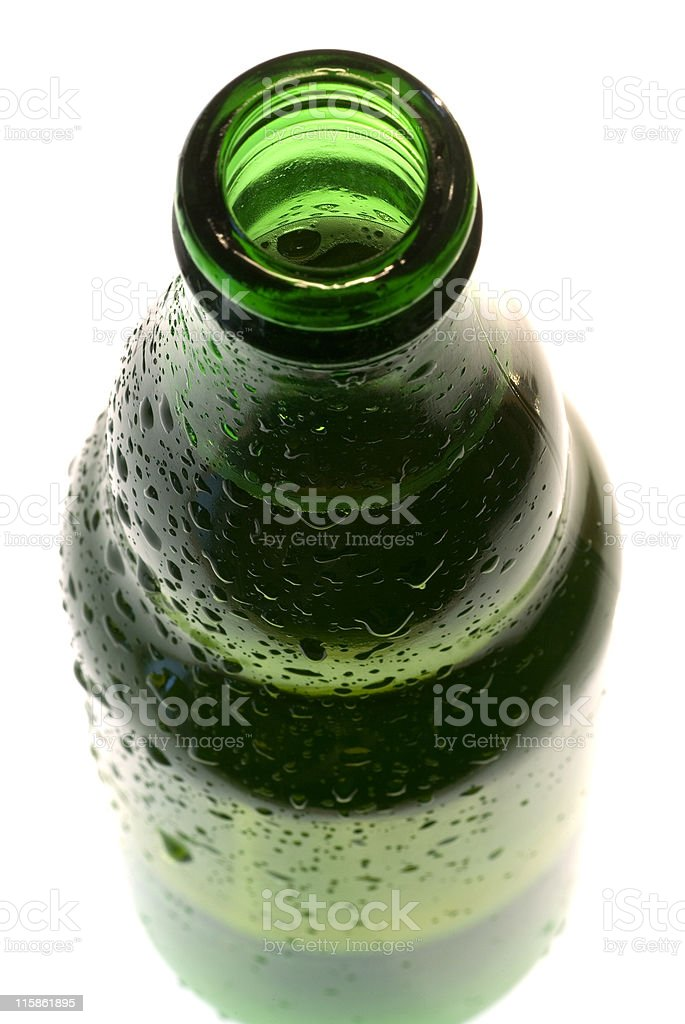 Open top of beer bottle, high key royalty-free stock photo