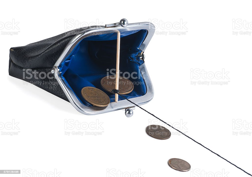 open trap purse with coins stock photo