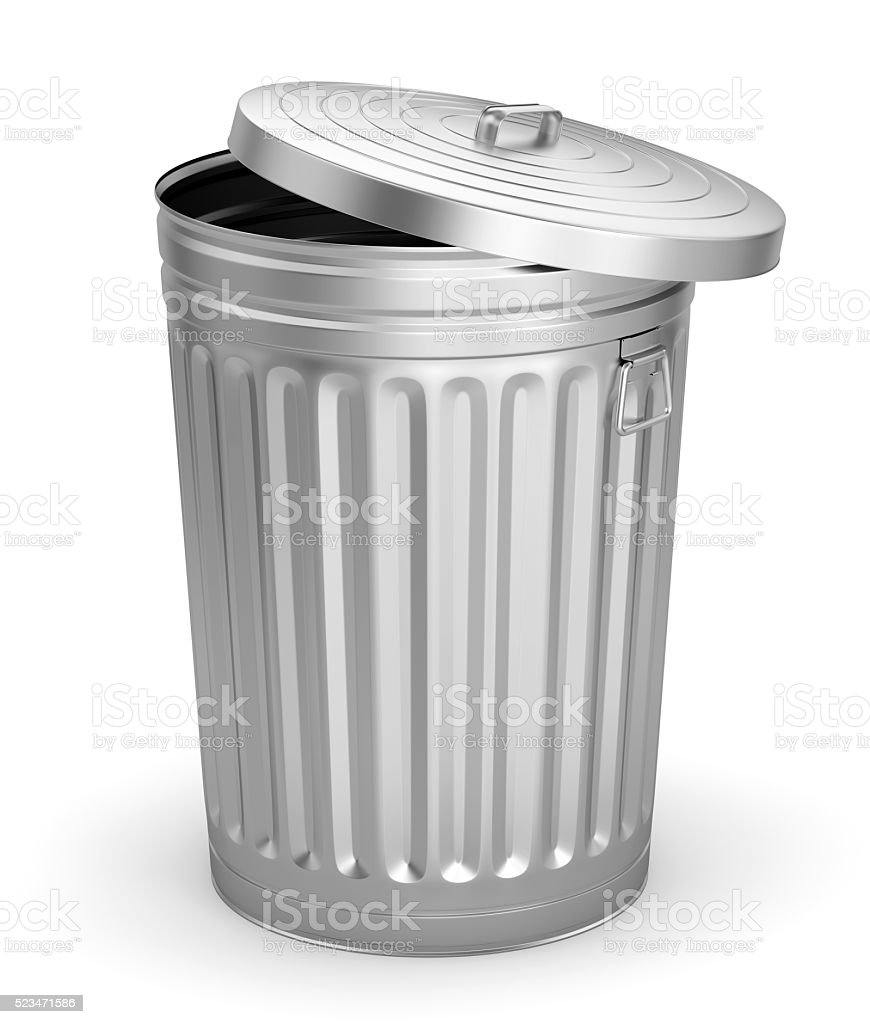 Open trash can stock photo