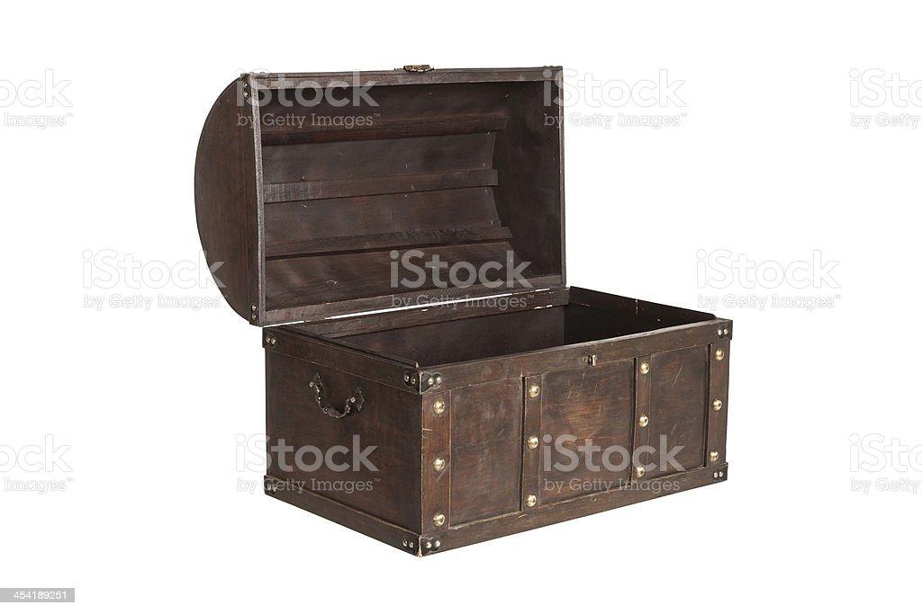 Open treasure chest isolated stock photo