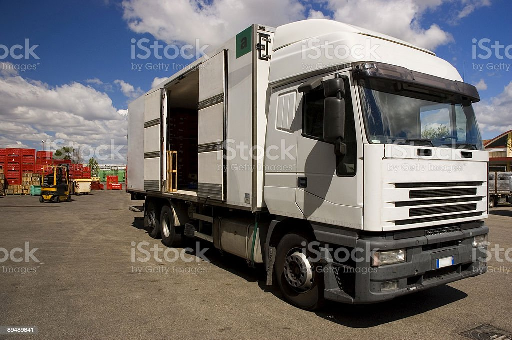 Open truck in a storage warehouse royalty-free stock photo