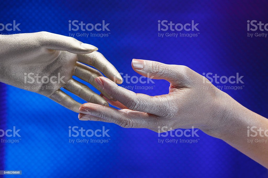 Open Two Human hand   touching at their fingers stock photo