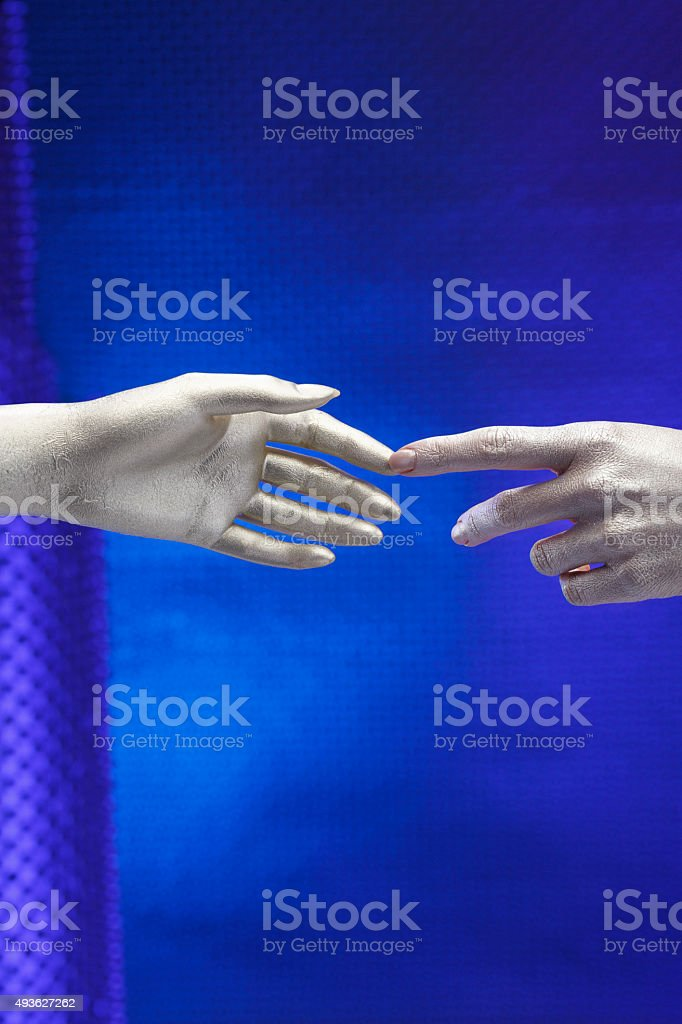 Open Two Human hand   touching at their fingertips stock photo