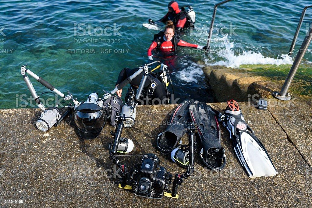 Piran, Slovenia - September 24, 2016: DRM Open underwater photography stock photo