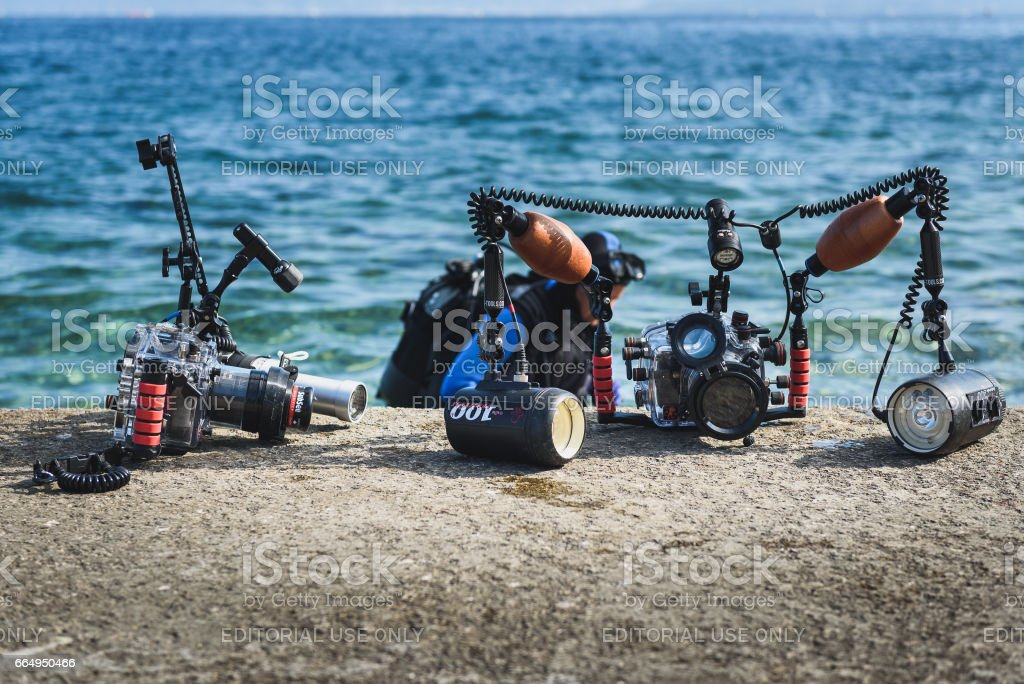 Piran, Slovenia - September 24, 2016: DRM Open - underwater photography splash-in competition stock photo