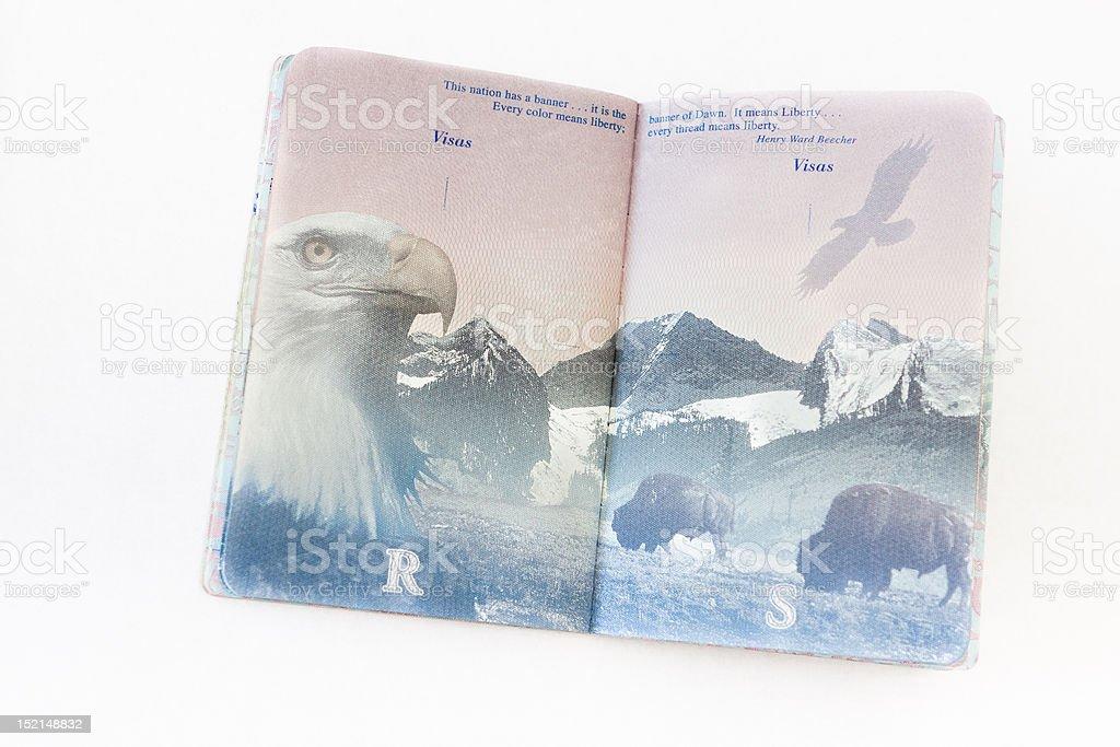 Open U.S. Passport stock photo