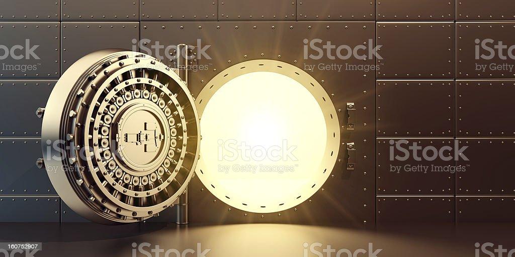 open vaulted gold door stock photo