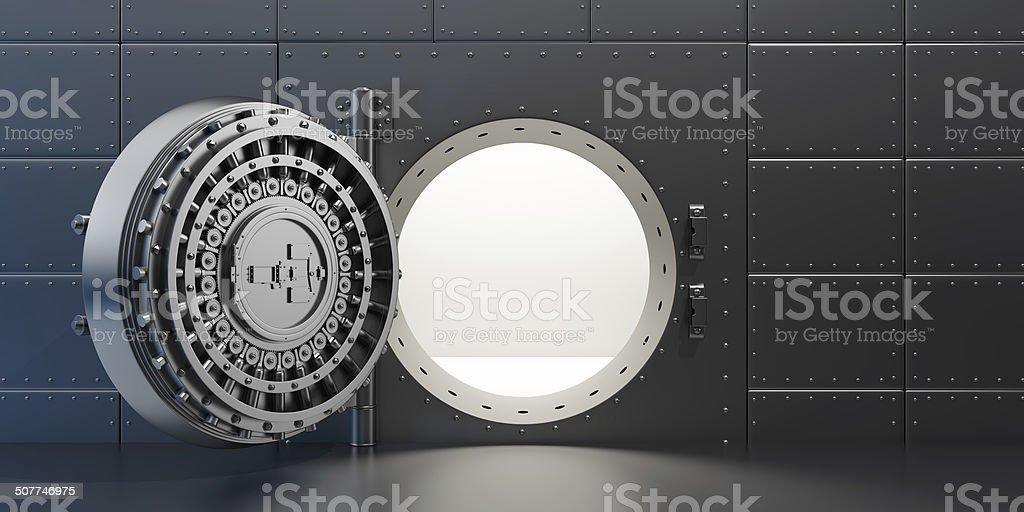 open vaulted steel door stock photo