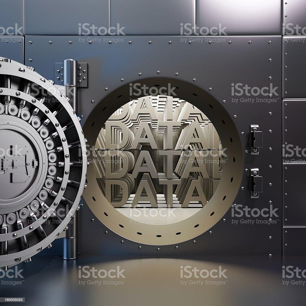 open vaulted steel door with DATA inside the vault royalty-free stock photo