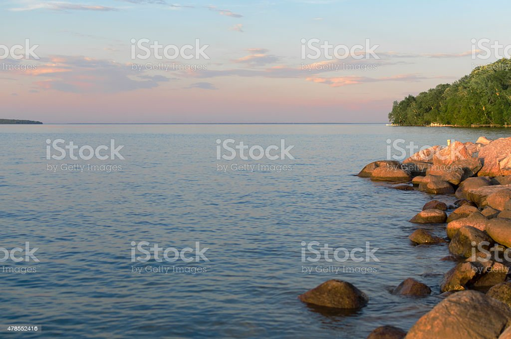 Open View Of Lake Seen From Shore stock photo